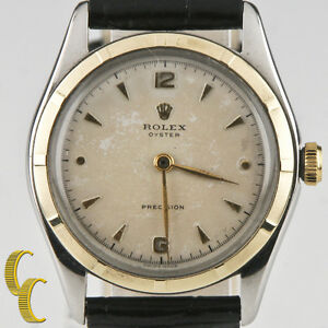 Rolex-Men-039-s-Vintage-Two-Tone-Oyster-Precision-Watch-5059-w-Patina-Dial