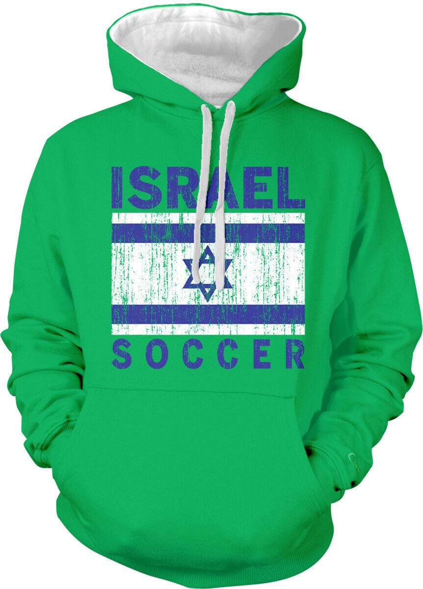 Israel Soccer Distressed Flag colors Israeli From ISR Two Tone Hoodie Sweatshirt