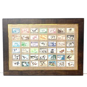 Magnificent-Vtg-Superior-Plaque-Print-35-USA-Duck-Hunting-Migratory-Bird-Stamps