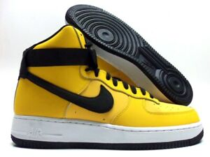50ff9fa32896a NIKE AIR FORCE 1 HIGH '07 LEATHER YELLOW OCHRE/BLACK SZ MEN'S 10.5 ...