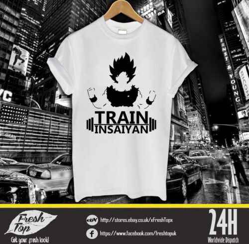 Train Insaiyan T Shirt Goku Vegeta Cell Sayian Dragon Ball Z Gym Training MMA