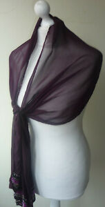 Dark-Purple-Silk-Stole-Scarf-Wrap-Embellished-Black-Silver-Sequins-Beads-New