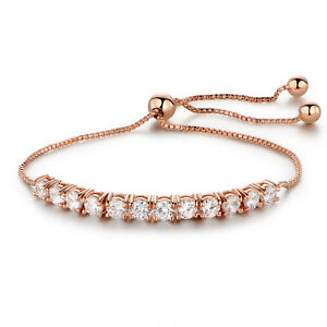 18K Rose Gold Plated Cubic Zirconia Slide Bracelet