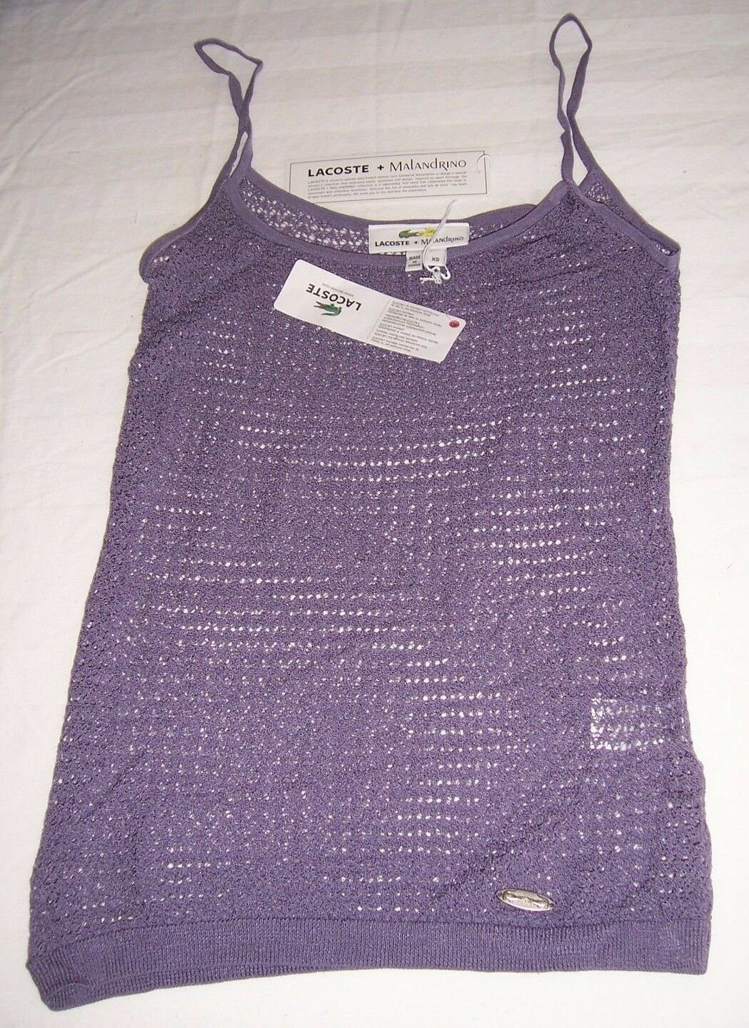 NWT Lacoste + Malandrino lila Crocheted Tank Top Shirt Misses Größe XSmall