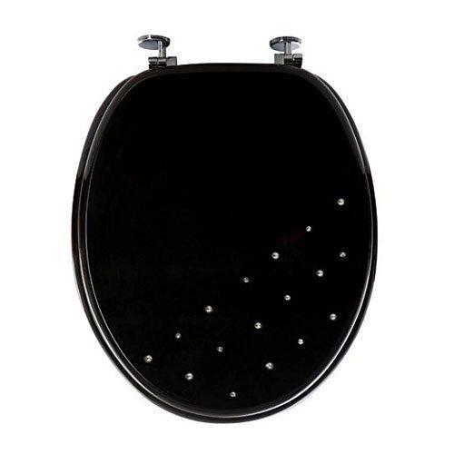 SABICHI NEW BATHROOM DIAMANTE WC TOILET SEAT COVER /& CHROME HINGS BLACK or WHITE
