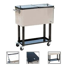 Patio Outdoor Portable Cooler Cart 80 Quart Ice Beer Beverage Chest Party  Silver