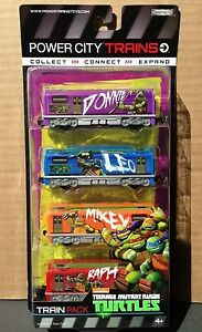 """Power City Trains """"TMNT Teenage Mutant Ninja Turtles"""" Set 4 Cars Pack NEW"""