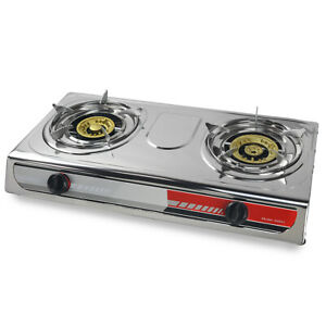 Portable-Propane-Gas-Stove-DOUBLE-2-Burner-CAMPING-TAIL-GATE-Tailgating-Stoves