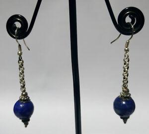 Tribal-Regional-Sterling-silver-earring-Handmade-Asian-jewelry-Lapis-stone-DM5