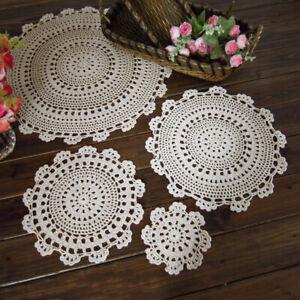 Vintage-Mano-Crochet-Algodon-Redondo-Mantel-Tapetes-Mantel-beber-Mat-Coaster