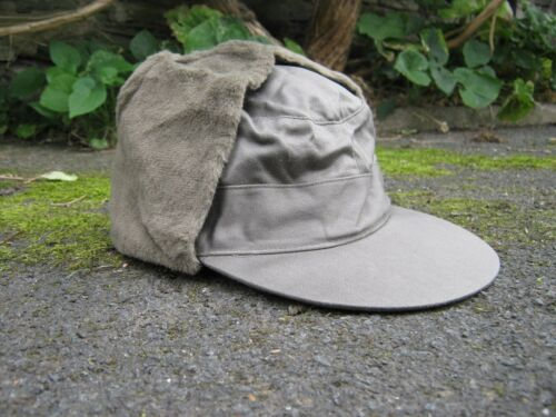 Dutch Army Cold Weather Cap Trapper Hat Olive Green Fur lined Military Surplus