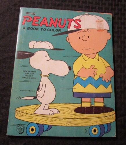 1965 PEANUTS A Book To Color VG+ Unused Snoopy Charlie Brown Saalfield 80p Green