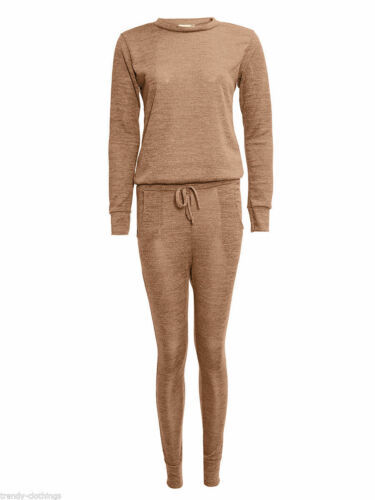 Womens Loungewear Sweatshirt Jogger Pants Two Piece Melange Asymmetric Tracksuit