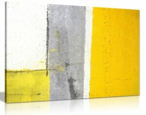 Details About Office Decor Grey And Yellow Abstract Art Painting Canvas Wall Picture Print