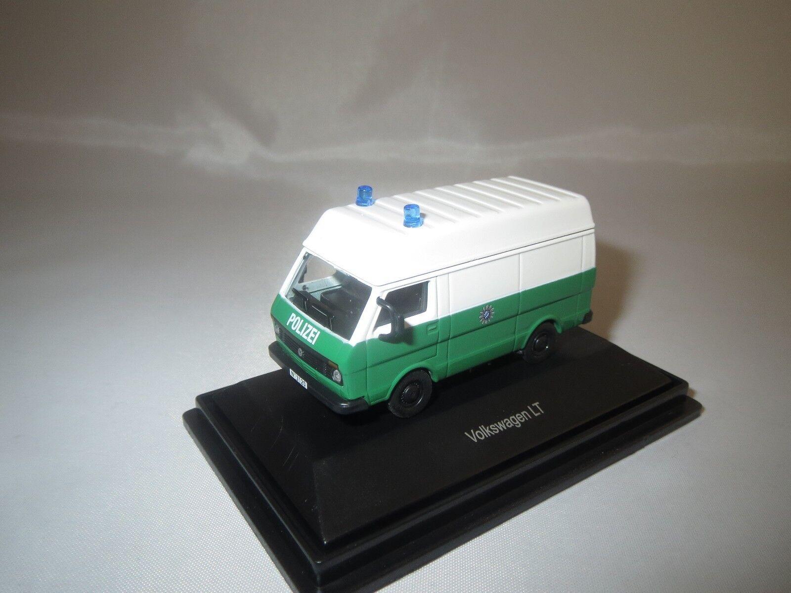 """Schuco 25875 Volkswagen LT """"policía"""" (verde blanco) 1 87 87 87 embalaje original   respuestas rápidas"""