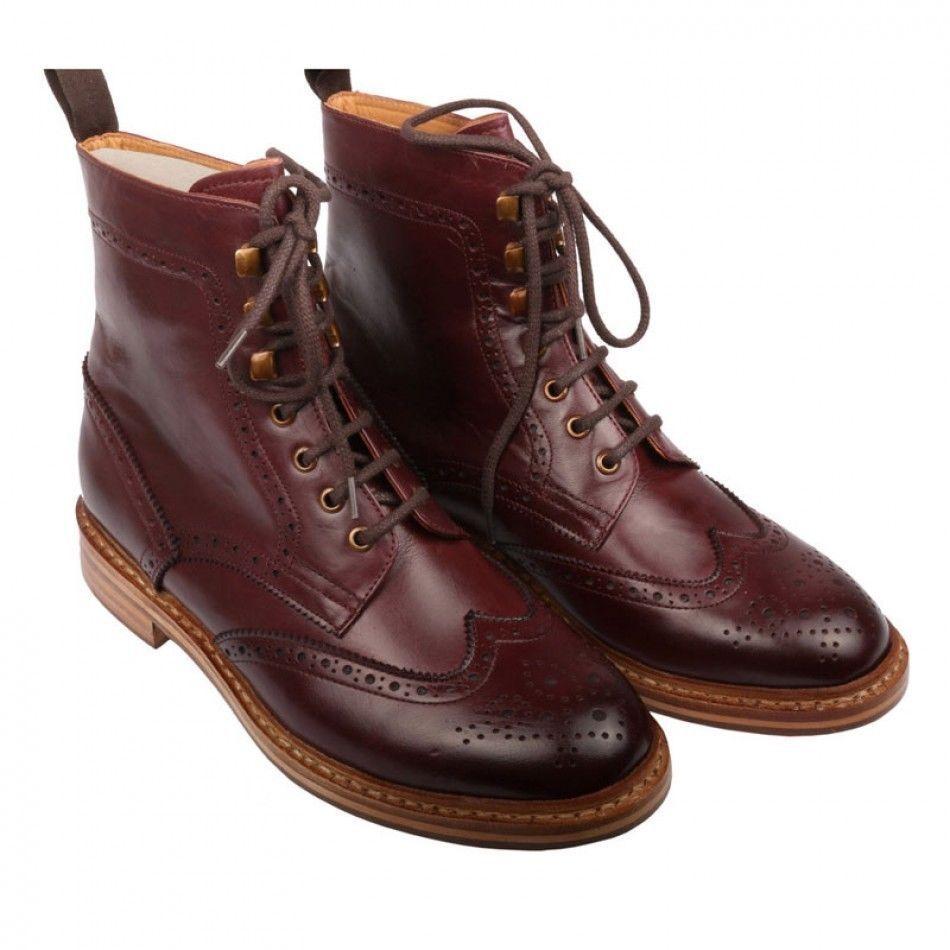 Gli uomini fatti a mano buone Scarpe da suola profilata YEAR Da Uomo Marrone Caviglia Alta Stivali in Pelle