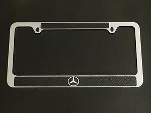 Mercedes benz logo license plate frame carbon fiber for Mercedes benz text