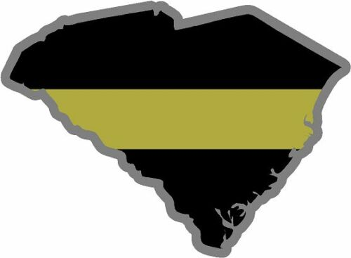 "4/"" South Carolina SC State Thin GOLD Line Dispatcher Dispatch 911 Decal Sticker"