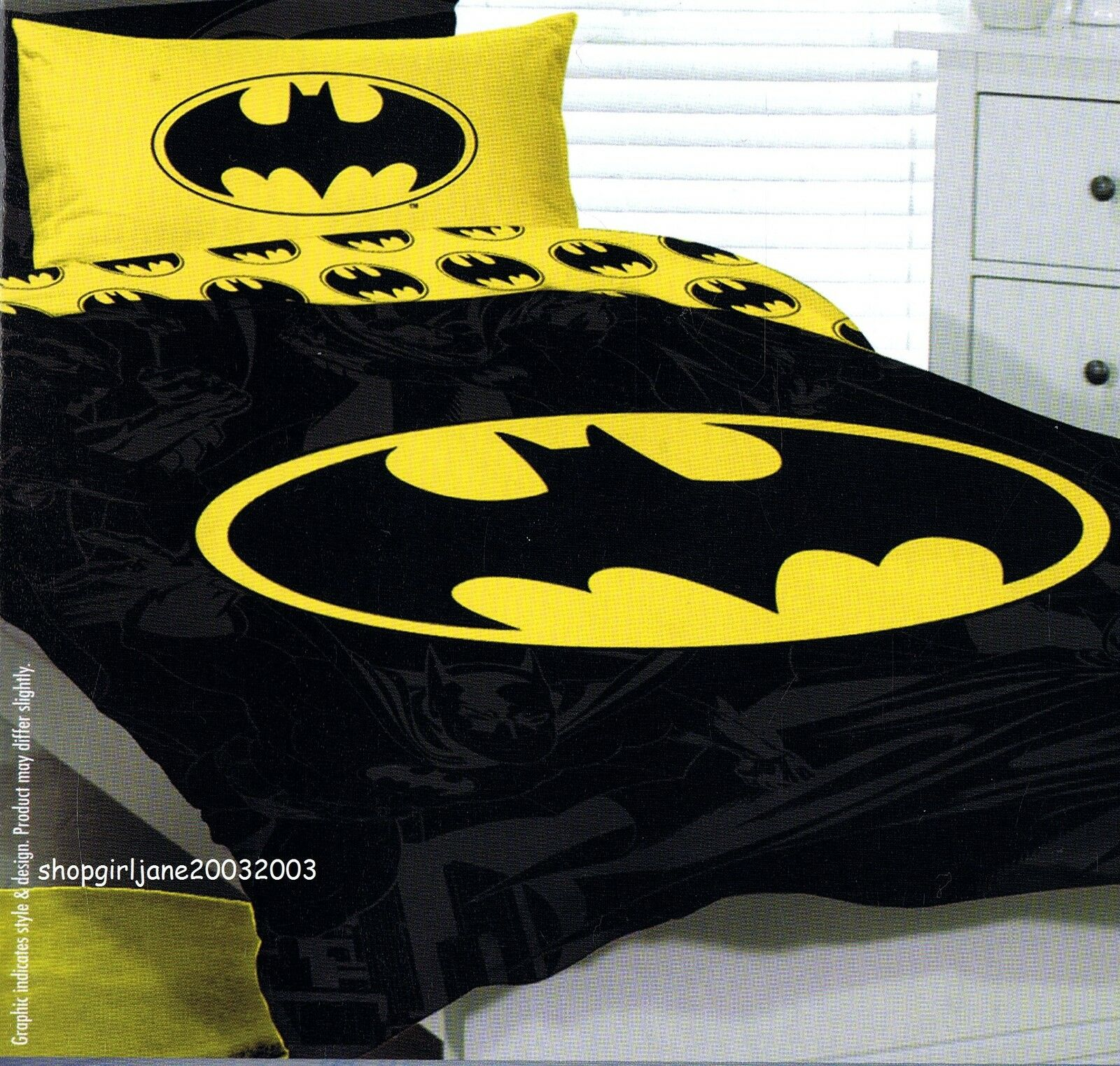 Batman - Yellow Logo- DC Comics - Single US Twin Bed Quilt Doona Duvet Cover Set