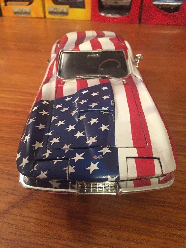 1 18 ERTL 1967 CHEVROLET CORVETTE , Stern SPANGLED , US FLAG , zeigened