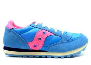 Saucony-Jazz-SK162486-Celeste-Rosa-Sneakers-Donna-Bambini-Scarpa-Casual-Sportiva