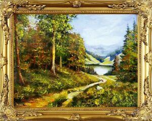 Gemaelde-Natur-Wald-Lichtung-Handarbeit-Olbild-Bild-Olbilder-Rahmen-Bilder-G01962