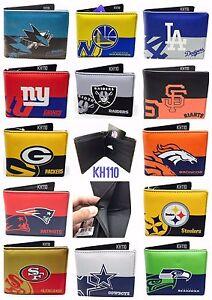 NFL-NBA-MLB-Team-Printed-logo-Leather-Men-039-s-Bi-Fold-Wallet