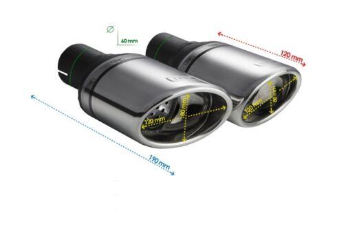 2 Edelstahl Sport Endrohre RS6 Optik 80mm x 120mm oval seitlich abgeschrägt