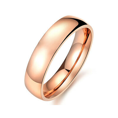 18K rose gold plated plain classic 5mm engagement wedding ring size 8 + gift bag