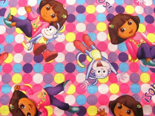 "15/"" x 43/"" Dora The Explorer Spots Nickelodeon Boots Polka Dot on Cotton Fabric"