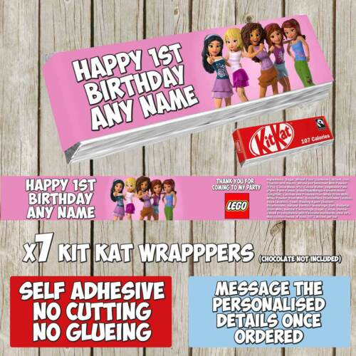 7 x Lego Friends Personalised Self Adhesive Kitkat Label Wrapper Girl K029