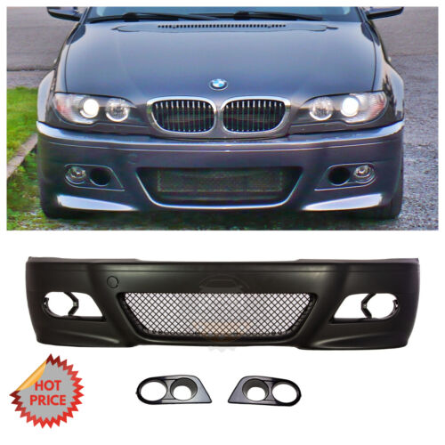 BMW E46 M3 STYLE FRONT BUMPER KIT W// MESH W// HM FOG LIGHT COVERS 00-06 COUPES