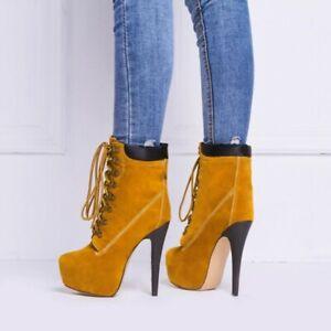 Europe-Women-OL-Lace-Up-Platform-Stilettos-High-Heels-Ankle-Boots-Shoes-Pumps