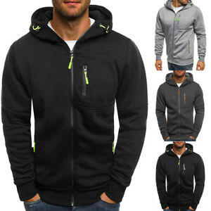 Men-039-s-Warm-Fleece-Hoodie-With-Thermal-Lined-Hood-Jacket-Sweatshirt-Zip-Outerwear