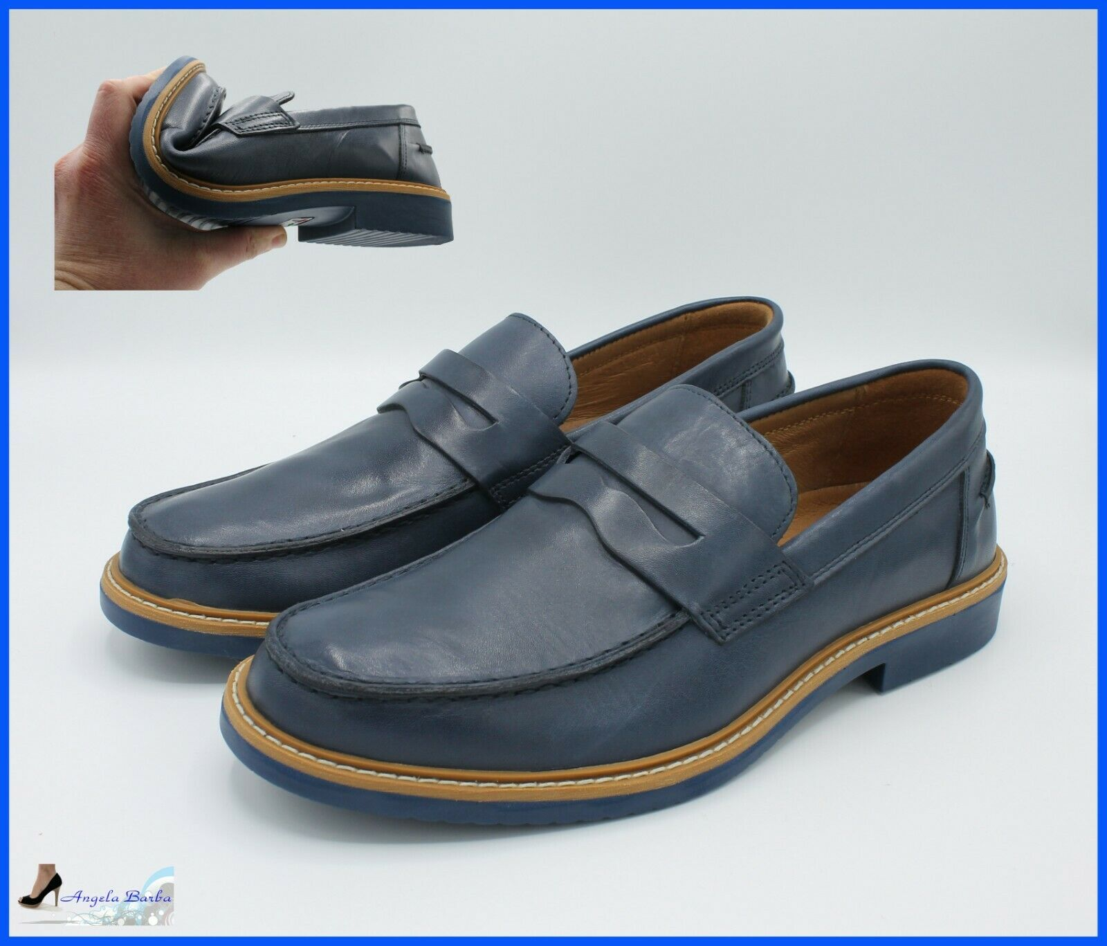Igi & Co e zapatos da hombres Mocassini  Eleganti College in Pelle azul Mocassino 41