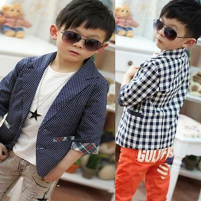 Toddlers Kids Boy Cool Lapel Suits Jacket Blazer Cotton Casual Coat Outfits 2-7Y