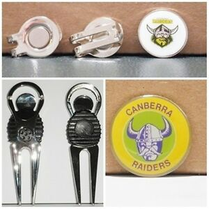 759bb9e9 Details about 2 only CANBERRA RAIDERS GOLF BALL MARKERS+ A NICE DIVOT TOOL  & HAT CLIP SET