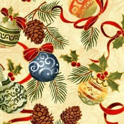 Fat Quarter Seasons Greetings Christmas Baubles Cotton Quilting Fabric Red