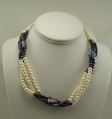 Vics Fine Jewelry Freshwater Black Pearl Necklace with Sterling Silver Clasp