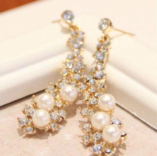 Women Lady Crystal Pearl Rhinestone Dangle Chandelier Earrings Jewelry 1Pair CH