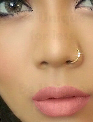 Fake Clip On 2crystal Gem Diamante Nose Ring Hoop Stud Sparkly