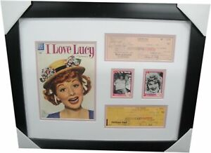 Lucille-Ball-amp-Desi-Arnaz-Signed-Personal-Checks-Framed-w-Comic-I-Love-Lucy-A1
