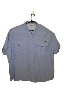 Columbia PFG Omni Shade Light Blue Button Vented Fishing Shirt Men's Size 5X Euc