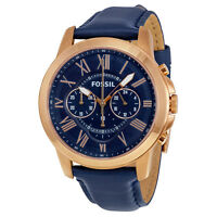 Fossil Grant Multi-Function Navy Dial Navt Leather Mens Watch (FS4835)