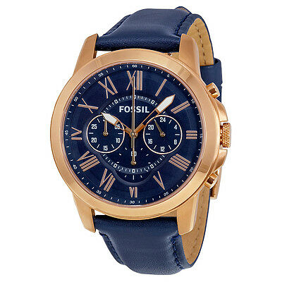 Fossil Grant Multi-Function Navy Dial Navy Leather Mens Watch FS4835