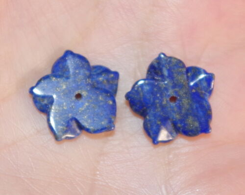 Details about  /VINTAGE GORGEOUS 15MM LAPIS  FLOWER JACKETS FOR EARRINGS USE WITH ANY STUDS