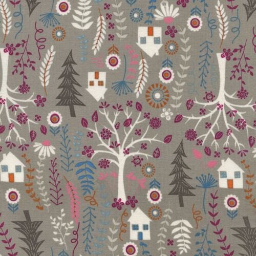 "TIMELESS TREASURES /""FOREST FROLIC/"" FOREST HOUSES Taupe by yard"