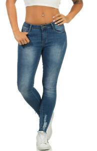Damen-Hose-High-Waist-Skinny-Jeans-Roehrenjeans-Knoecheljeans-Blau-XS-S-M-L-XL