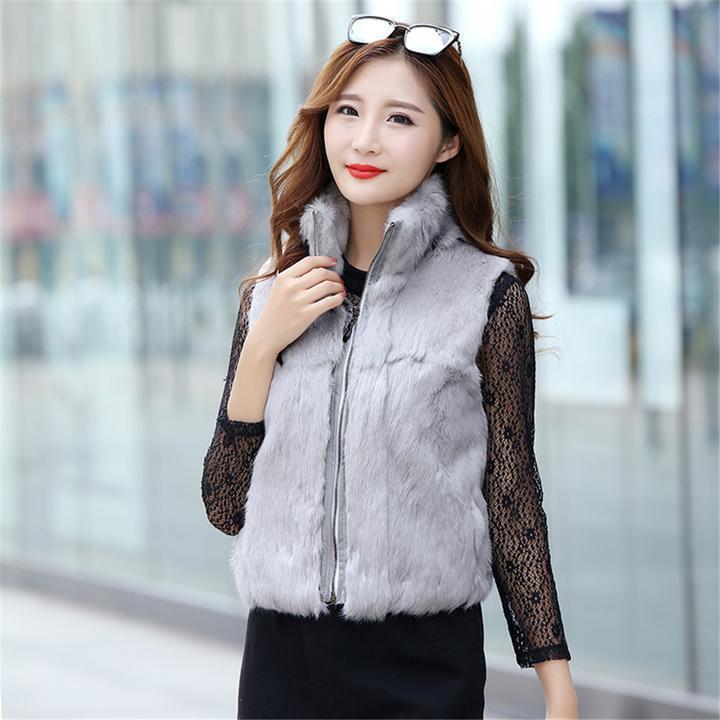 Trendy Women's Full Pelt Real Rabbit Fur Coat Short Zipped Zipped Zipped Waistcoat Gilet Vogue ad555c