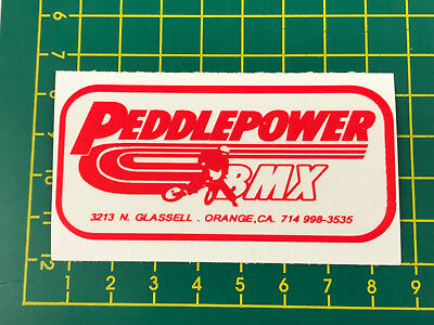 old school bmx decals stickers peddlepower cyclery red on clear